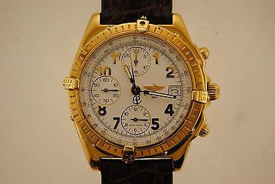 BREITLING 18K Yellow Gold Chronograph Automatic Wristwatch w/ Special White Porcelain Style Dial - $20K VALUE