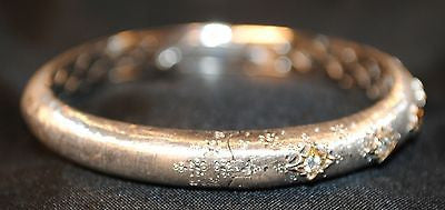 Contemporary Diamond Hinged Bangle Bracelet in 18K White and Yellow Gold - $25K VALUE