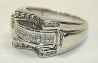 Contemporary Men's Channel Set Diamond Ring in Solid 14K White Gold - $8K VALUE