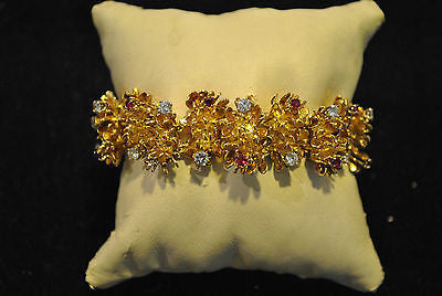 1940s Vintage Asprey Style 18K Yellow Gold Flower Link Bracelet with 5.33 Carats in Diamond & Ruby - $50K VALUE