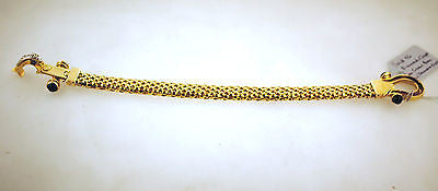 Gorgeous Contemporary Diamond & Onyx Rope Chain Bracelet in Solid 14K Yellow Gold - $8K VALUE