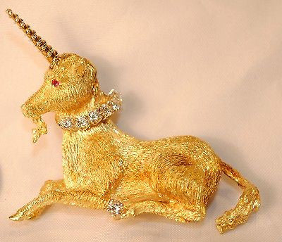 1950s Vintage Tiffany and Co. Diamond and Ruby Unicorn Brooch/Pin in 18K Yellow Gold - $20K Value