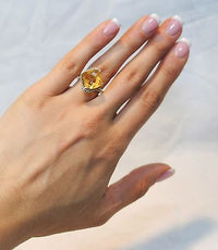 Contemporary 9.5 Carat Citrine and Diamond Ring in 14K White Gold - $6K VALUE