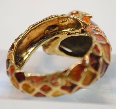 Vintage Italian Enamel Snake Wrap Around Ring in 18K Yellow Gold - $8K VALUE