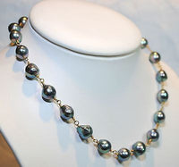 1960s Vintage Peacock Orient Baroque Pearl Station Necklace with Emerald Toggle - $12K VALUE