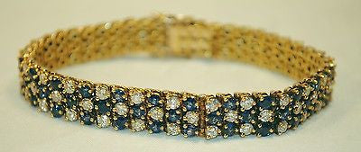 5+ Carat Diamond & 6.5 Carat Sapphire Triple Row Tennis Bracelet in 18K Gold - $40K VALUE