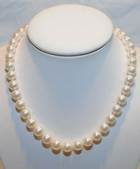 "Contemporary 18"" Adjustable White Saltwater Pearl Necklace 9.5MM with 14K White Gold Clasp - $15K VALUE"