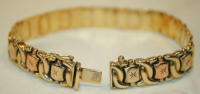 "1960's Two-Tone ""X"" Motif Bracelet in 14K Yellow & Rose Gold  - $5K VALUE"