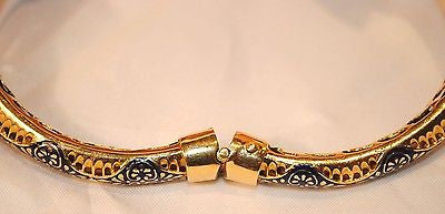 1960s Vintage Enamel Ram Head Hinged Cuff Bracelet with Emeralds in 18K Yellow Gold - $20K VALUE