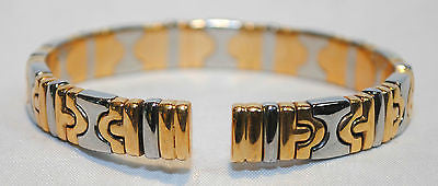 Contemporary Bvlgari Parentsi 18K Yellow Gold & Steel Cuff Bracelet - $15K VALUE