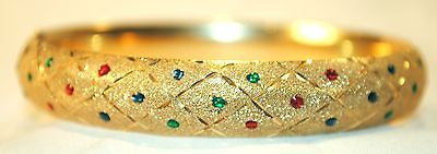1970s Vintage Textured 14K Yellow Gold Bangle Bracelet with Ruby, Sapphire, & Emerald - $15K VALUE