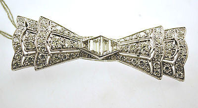 1920s Stunning Art Deco 4.50 Carat Diamond Bow Tie Design Brooch in Platinum - $30K VALUE