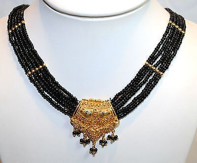 1940s Victorian Mourning Style Jet Beaded Necklace with 18K Yellow Gold Centerpiece - $6K VALUE