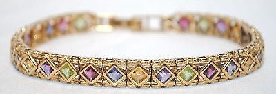 Contemporary Tanzanite/Peridot/Garnet/Citrine Multi-Gem Bracelet in 14K Yellow Gold - $12K VALUE