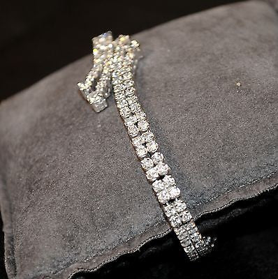 Contemporary 4+ Carat Diamond Double Row Bypass Tennis Bracelet in 14K White Gold - $30K VALUE