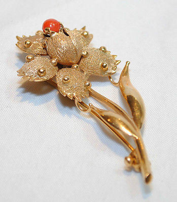 1950s Vintage Coral Flower Brooch in 18K Yellow Gold - $6K VALUE