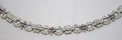 Contemporary Art Deco Style Diamond & Ruby Geometric Bracelet in Solid 14K White Gold - $15K VALUE