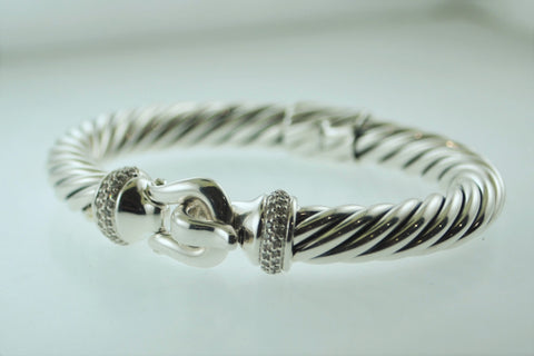 David Yurman Silver Cable Bracelet with 0.42 Carats in Pavé Set Diamonds - $3K VALUE