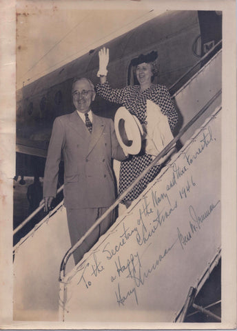 President Harry Truman and First Lady Bess Truman Air Force One Signed Christmas Photograph - $6K VALUE