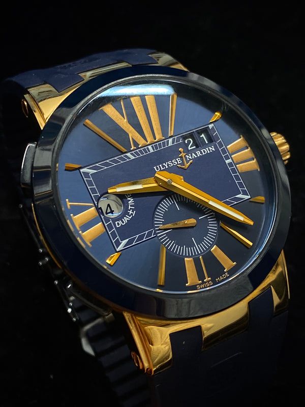ULYSSE NARDIN Limited Edition 18K Rose Gold Dual Time Executive, Ref. # 246-00 - $40K Appraisal Value! ✓