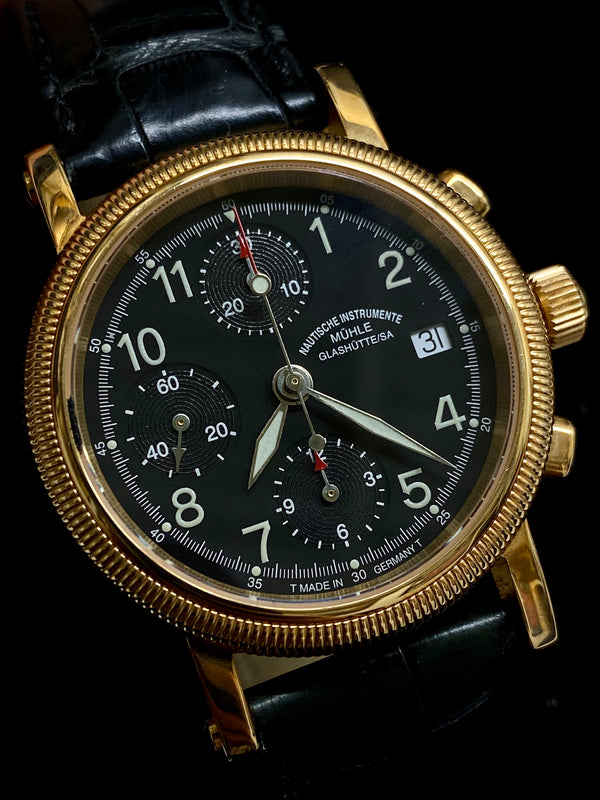 MUHLE GLASHUTTE Limited Edition 18K Yellow Gold Automatic Chronograph Date - $30K Appraisal Value! ✓