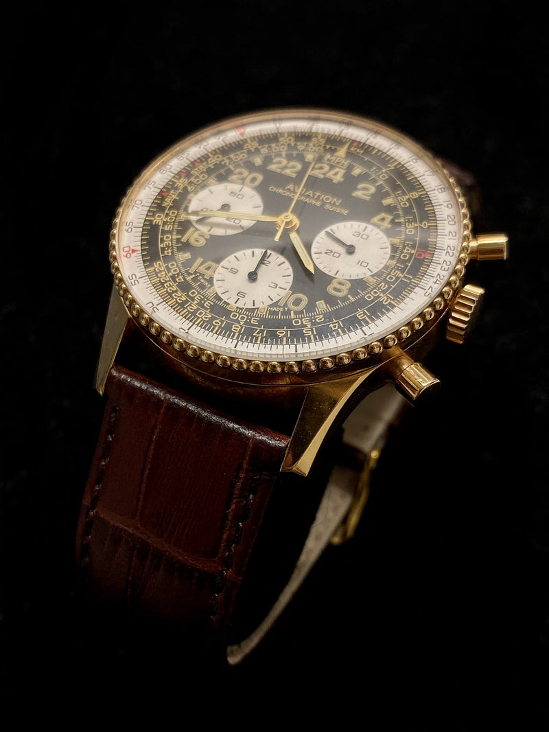 CHRONOGRAPHE SUISSE Limited Edition #36/205 Aviation Navitimer in 18K Yellow Gold - $30K Appraisal Value! ✓