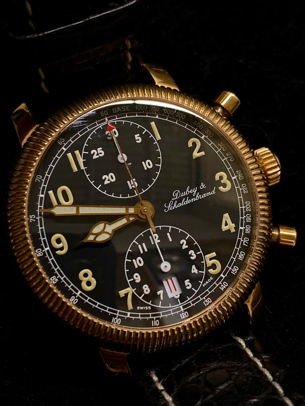 DUBEY & SCHALDENBRAND Calendar Date 18K Rose Gold Chronograph - $25K Appraisal Value! ✓