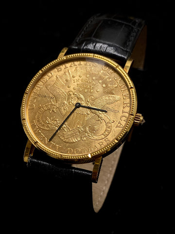 Corum 18K Gold US Federal Reserve 1888 $20 Coin Watch $30K Apr. & CoA