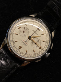 LEMANIA Vintage 1950s 105 Stainless Steel Chronograph - Extremely Rare Model - $10K Appraisal Value! ✓