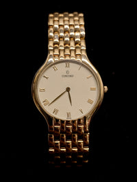 CONCORD Classic Yellow Gold Watch w/ Rare Brick Pattern Bracelet - $20K Appraisal Value! ✓