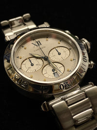 CARTIER Pasha De Cartier Automatic Chronograph in Stainless Steel with 3 Sapphire Gemstones - $15K Appraisal Value! ✓
