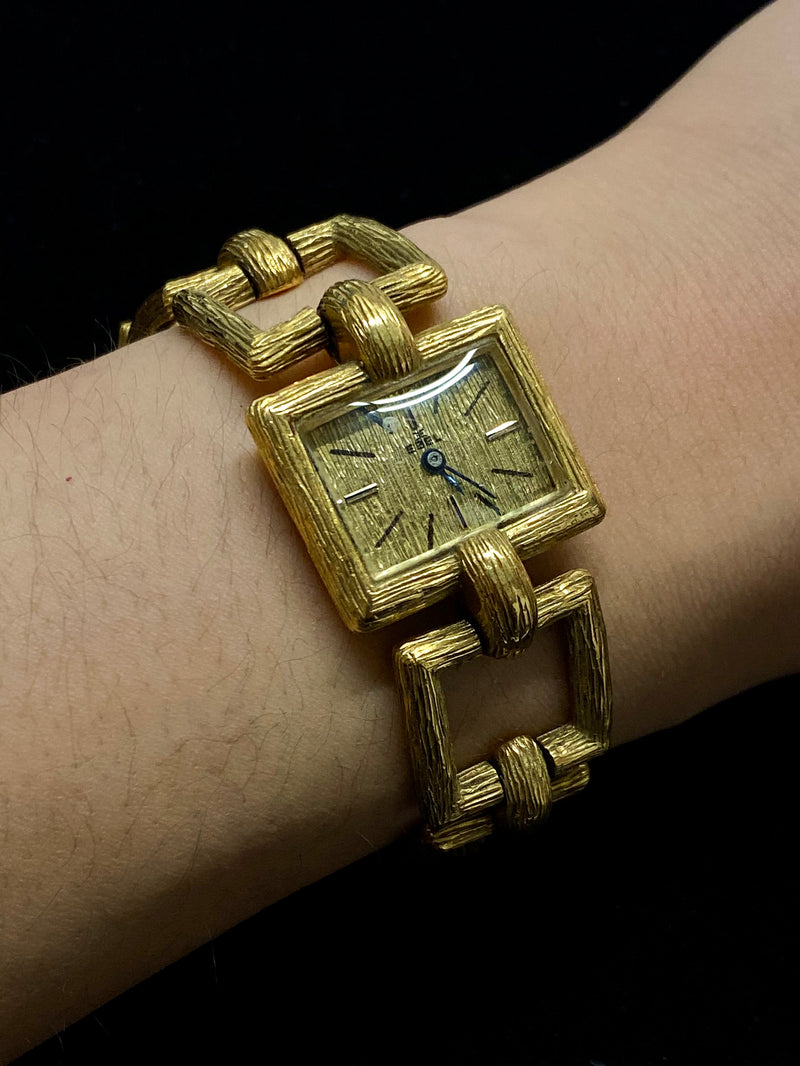 EBEL Extremely Rare Vintage 1940s 18K Yellow Gold Bark Style Square Chain Watch - $22K Appraisal Value! ✓