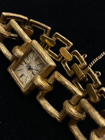 Rare EBEL Vintage 1940s 18K Yellow Gold Bark Style Square Chain Watch - $22K Appraisal Value!