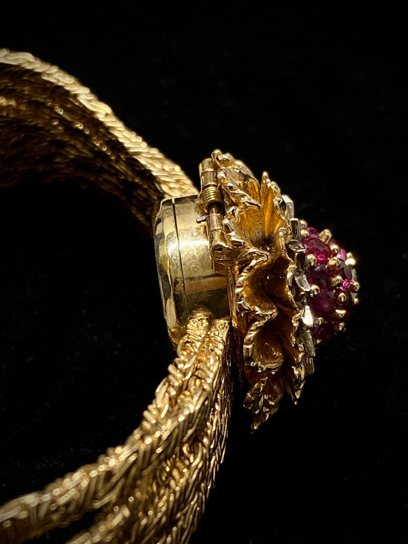 PERLE Vintage Circa 1940s Yellow Gold Ruby & Diamond Floral Bracelet Watch - $40K APR w/ CoA! ✓