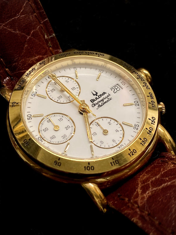 BULOVA Vintage 1980's Collectible Automatic Gemini Valjoux Chronograph in 18K Yellow Gold - $20K Appraisal Value! ✓