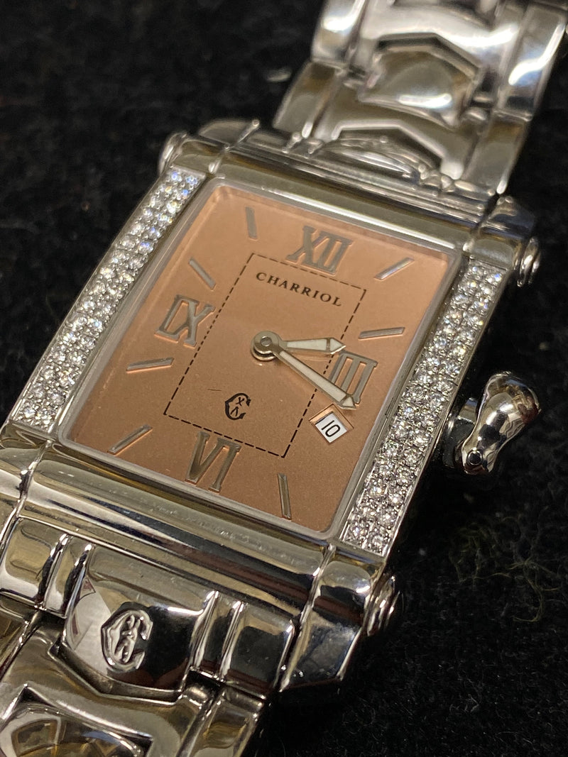 PHILIPPE CHARRIOL Colvmbvs Stainless Steel Ladies Watch w/ 64 Diamond Bezel, Ref. 9011910 - $8K Appraisal Value! ✓