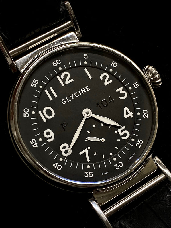 GLYCINE Men's XXL Stainless Steel Black Dial w/ Exhibition Caseback, Ref. # F 104 3841 - $5K Appraisal Value! ✓
