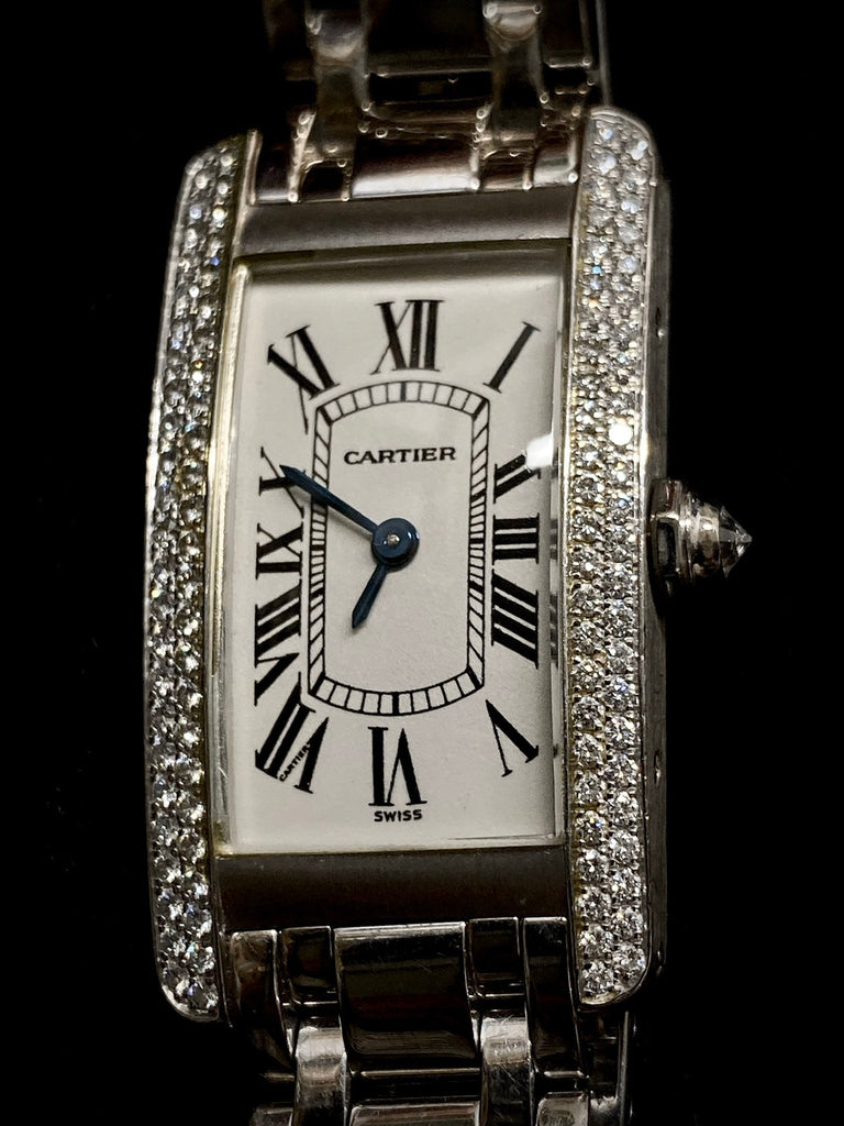 Ladies Cartier American Tank 18K White Gold w/ 98 Diamond Bezel Ref. #1713