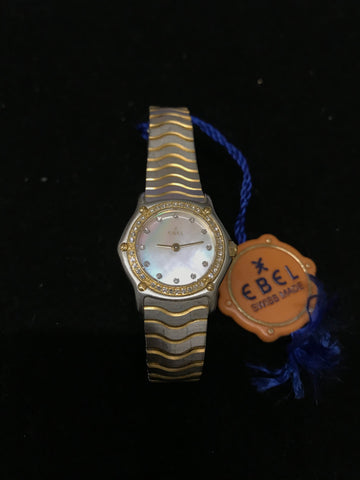 EBEL Wave  Classic Two-Tone 18K Yellow Gold and Stainless Steel w/ 50 Factory Diamonds! - $8K Appraisal Value!