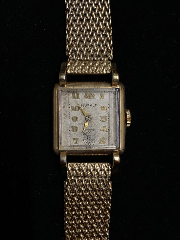 MURALT Vintage 1940's Art Deco Style Gold Tone Mechanical Watch w/ Fancy Lugs - $6K Appraisal Value! ✓