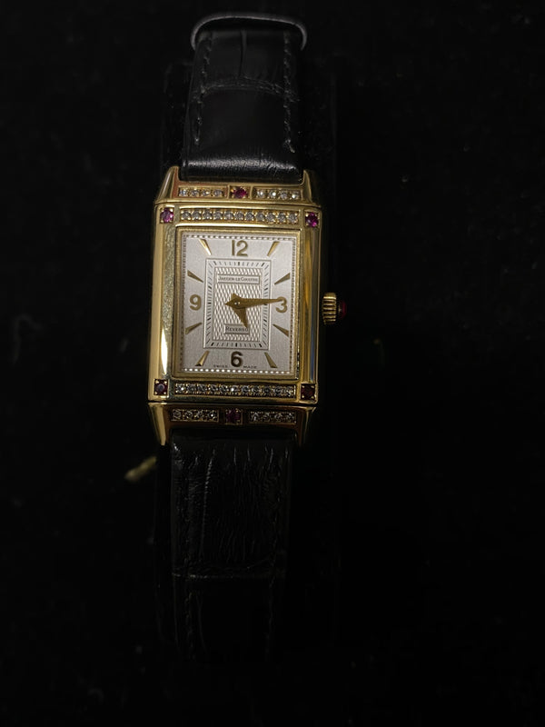 JAEGER LECOULTRE Limited Edition Reverso 18K YG Ladies Watch w/ 62 Diamonds & 10 Rubys! - $65K Appraisal Value! ✓