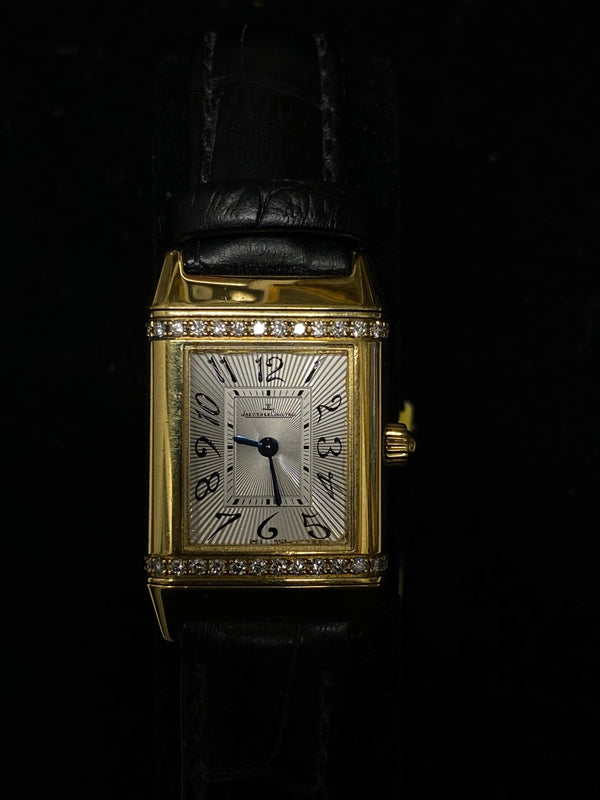 JAEGER LECOULTRE Ladies Reverso 18K Yellow Gold w/ 28 Diamonds! - $40K Appraisal Value! ✓