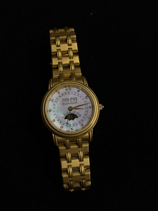 BLANCPAIN Ladies Ltd Ed Moonphase Calendar 18K YG Automatic Watch w/ MoP Diamond Dial - $50K Appraisal Value! ✓