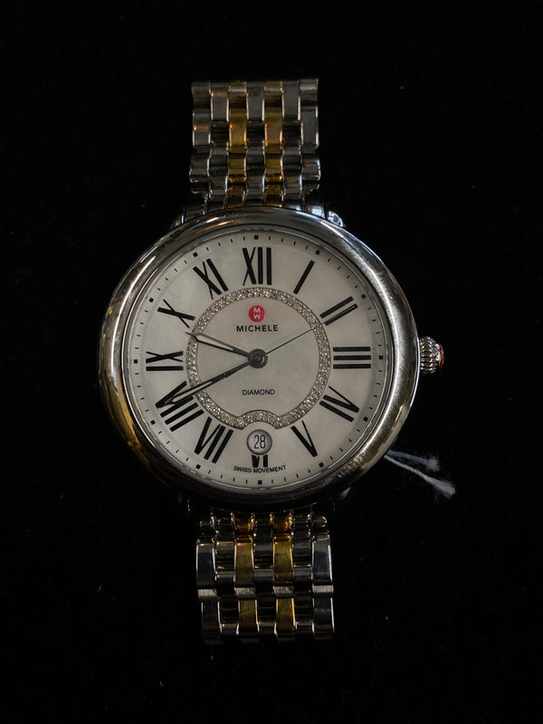 MICHELE Serein Two-Tone SS & YG Ladies Watch w/ MoP 46-Diamond Dial! - $3K Appraisal Value! ✓
