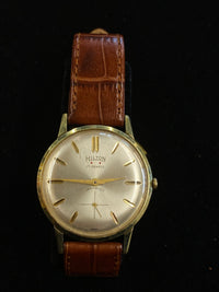 HILTON Incabloc Vintage 1955 Gold Tone 17-Jewel Mechanical Watch - $4K Appraisal Value! ✓