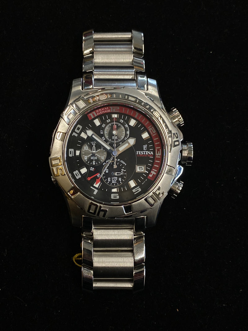 FESTINA Registered Design SS Chronograph w/ Bike Alarm! - $2K Appraisal Value! ✓