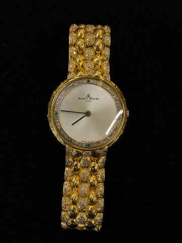BAUME & MERCIER Incredible 18K Yellow Gold Unisex Watch w/ 520 Diamonds! $30K Appraisal Value!