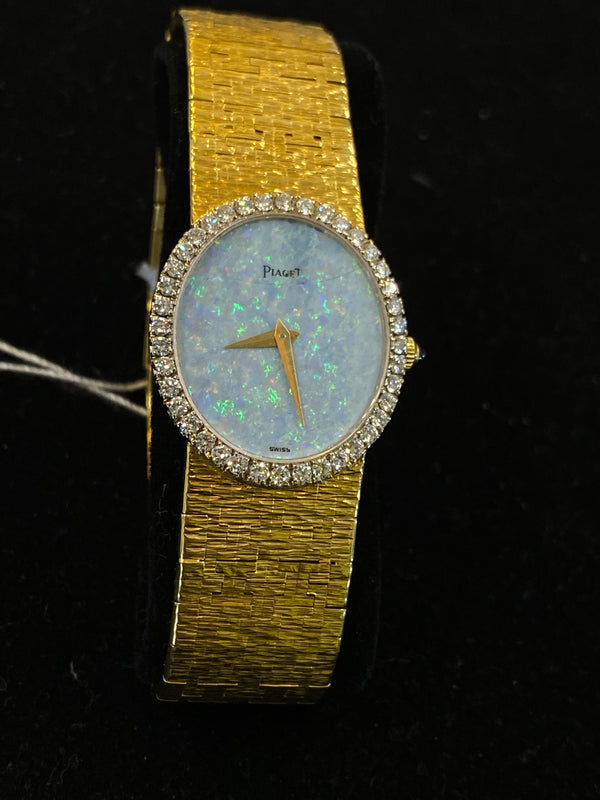 PIAGET 18K YG Ladies Watch w/ 40 Diamond Bezel & Australian Opal Dial - $50K Appraisal Value! ✓