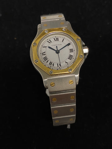 Cartier 18KYG Stainless Steel Automatic Octagon Watch $10K Value w/ CoA