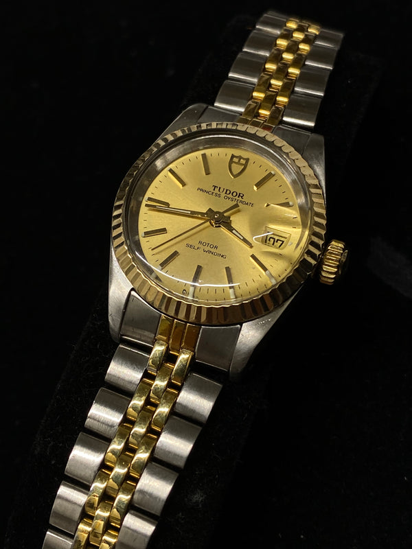 Tudor Princess Oysterdate Lady's Rolex 18K Gold Tone Stainless Steel Self-Winding Watch $7K Value w/ CoA